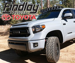 FIndlay Toyota Prescott ad showing an offroad vehicle. Image links to https://www.findlaytoyotaprescott.com/