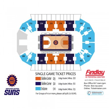 Diagram of the NAZ Suns Seating Chart