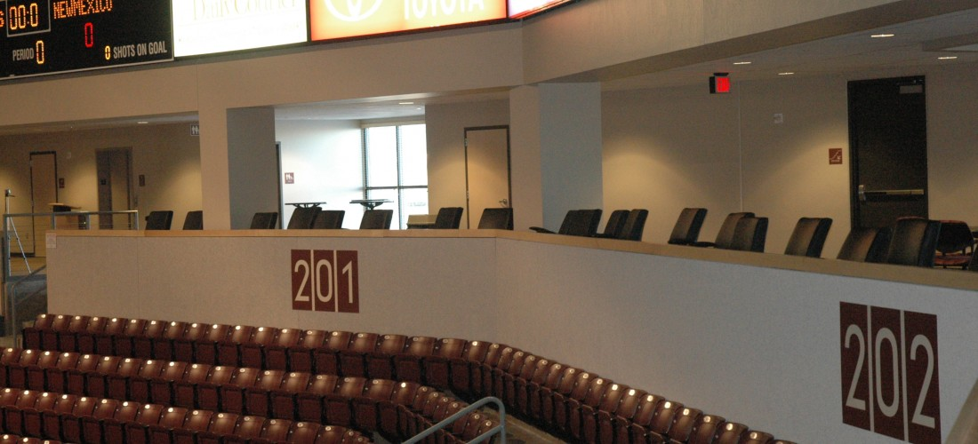 Wide view of loge seating