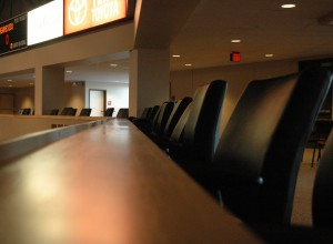 Leather chairs overlooking the arena