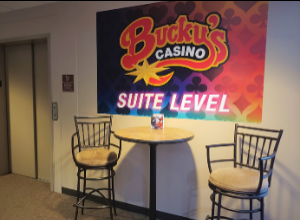 A photo near the elevator of the Bucky's Casino Suite Level